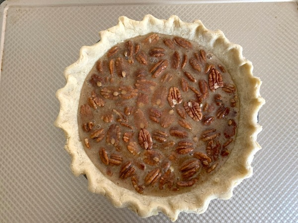gluten free pecan pie ready to bake