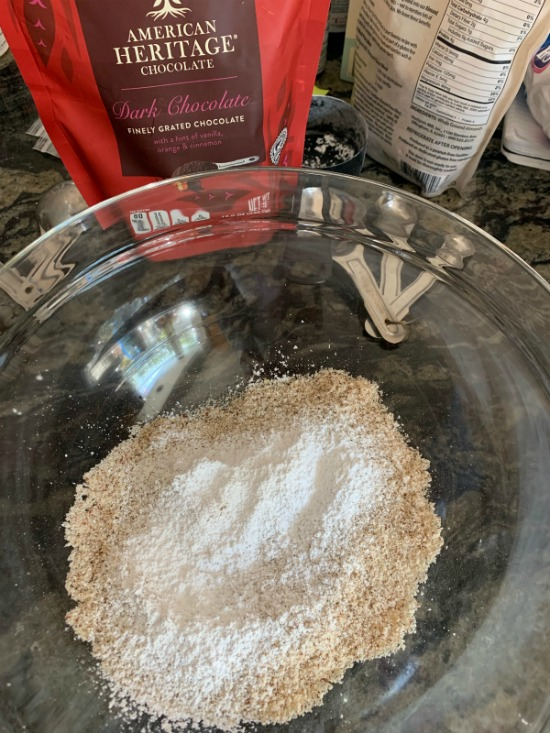 sifted almond flour and powdered sugar in a bowl.