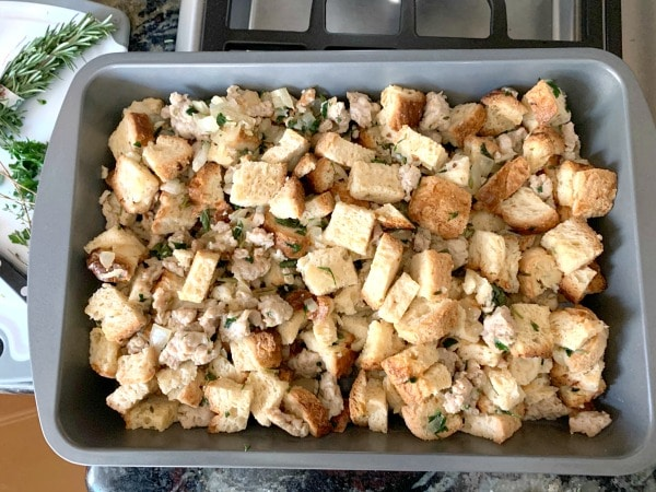 stuffing in a pan ready to pan