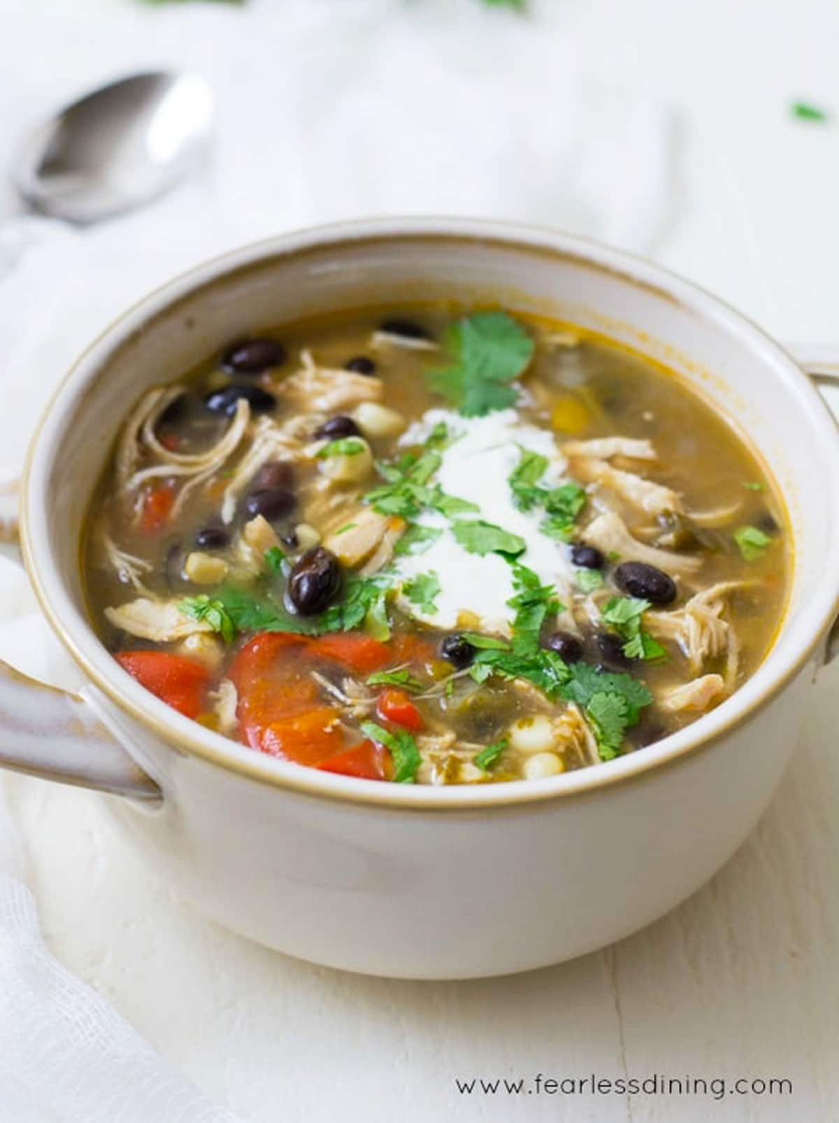 a side view of the bowl of gluten free taco soup