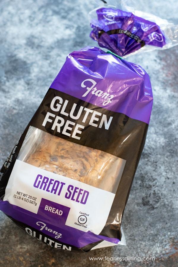 a loaf of Franz Bakery Gluten Free Great Seed Bread