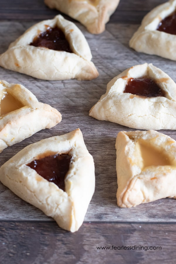 gluten free hamantaschen filled with jam and lemon curd