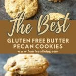 a pinterest collage of pecan cookie photos