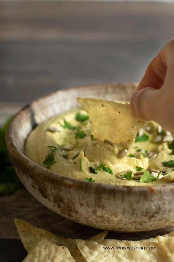 dipping a tortilla chip into the hummus