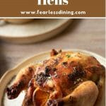 a pinterest pin with the photo of a cooked cornish game hen
