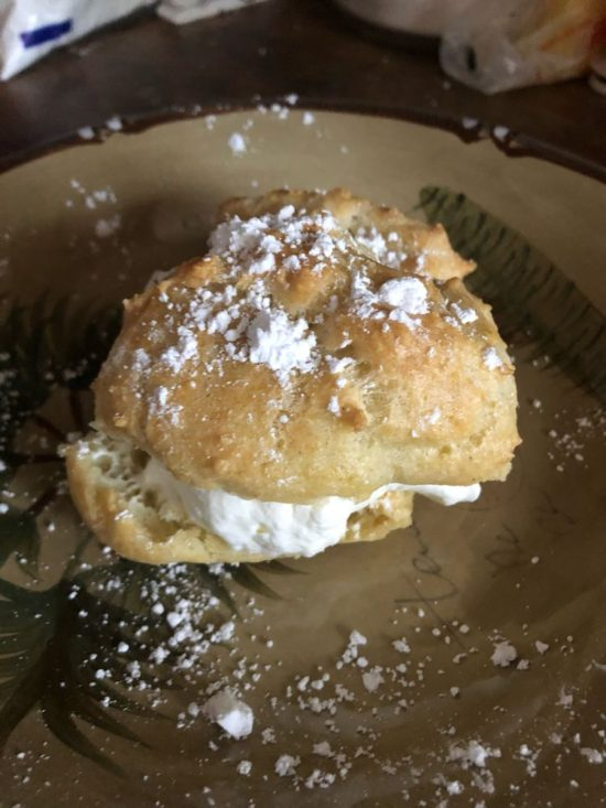 Reader Cindy P's photo of a cream puff she made on a plate