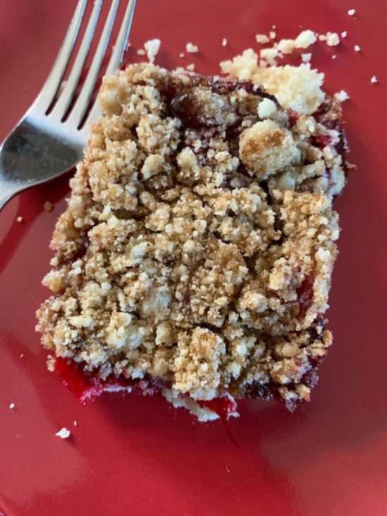 Reader Crystal M's photo of her finished cranberry bars