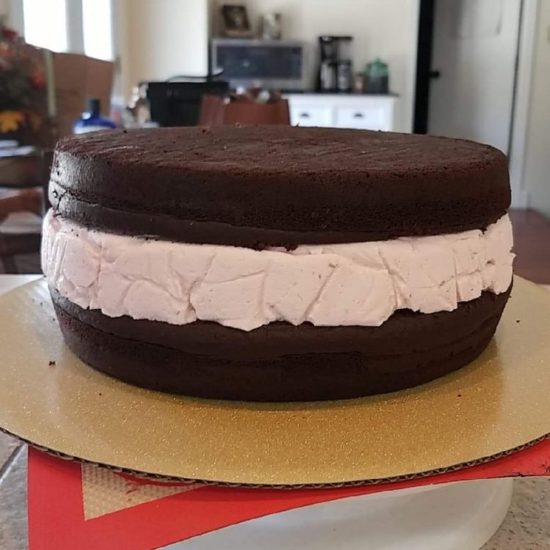 Tiffany C sent in this photo of how she used the mousse to fill a chocolate cake