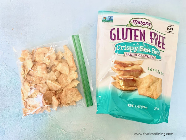 Milton's crackers in a bag ready to crush