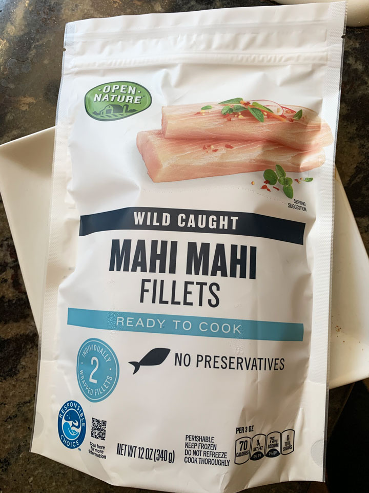 a package of sustainably caught frozen mahi mahi