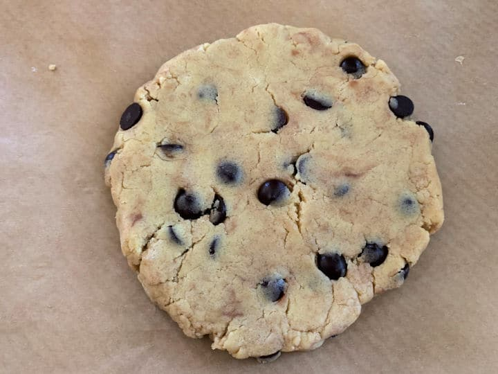 biscotti dough pressed into a circle.
