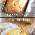 a pinterest pin of the peach cake image