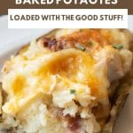 a pinterest collage image of a twice baked potato that was cut into