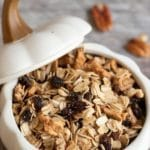 a pinterest pin image of the apple granola in a white pumpkin bowl