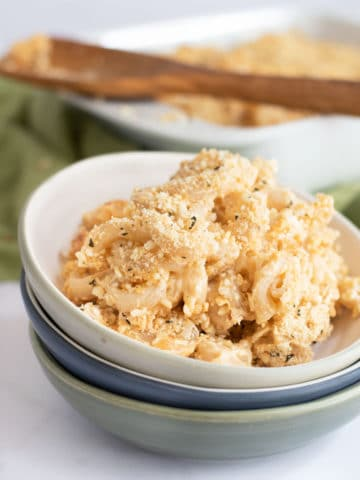 a bowl of homemade gluten free macaroni and cheese