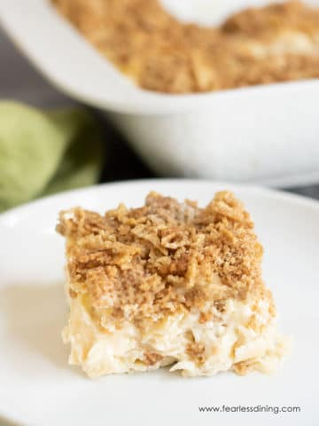 a slice of sweet gluten free noodle kugel on a plate