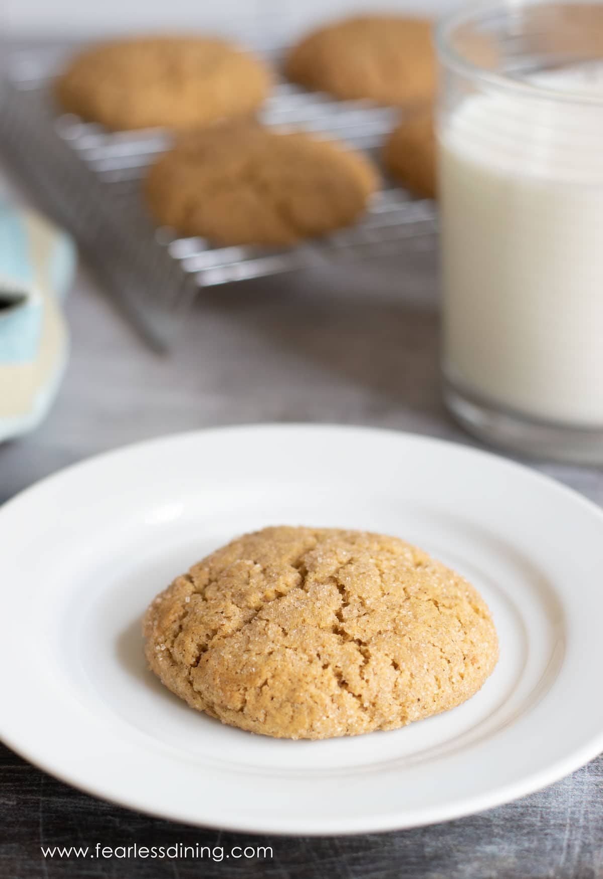 a gluten free pumpkin snickerdoodle cookie on a plate next to a glass of milk