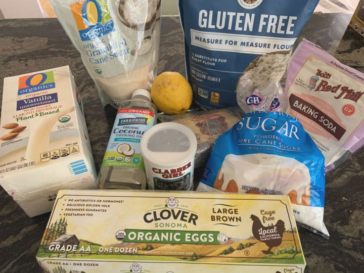 all of the ingredients to make these lemon poppy seed muffins