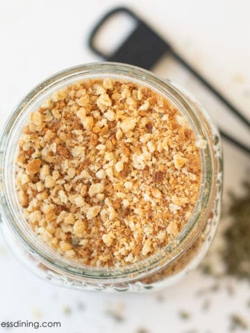 top view of a mason jar filled with homemade breadcrumbs