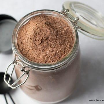 a jar of homemade gluten free chocolate cake mix