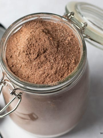 a jar of homemade gluten free chocolate cake mix