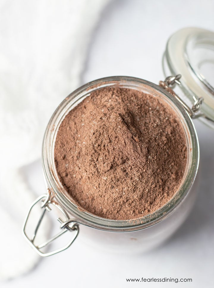 top view of a mason jar filled with chocolate cake mix