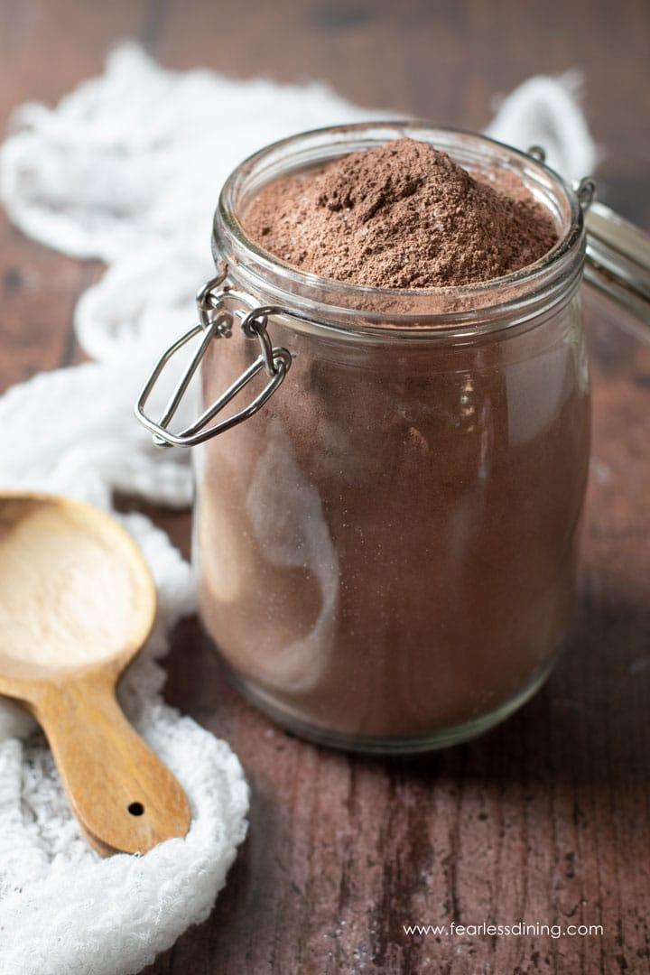 a mason jar filled with gluten free chocolate cake mix