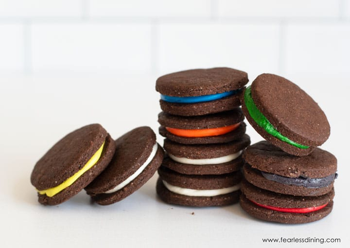 rainbow gluten free oreo cookies in stacks