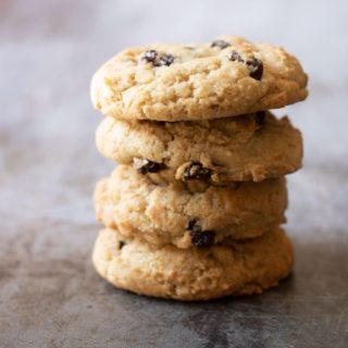 a stack of four gluten free rum raisin cookies