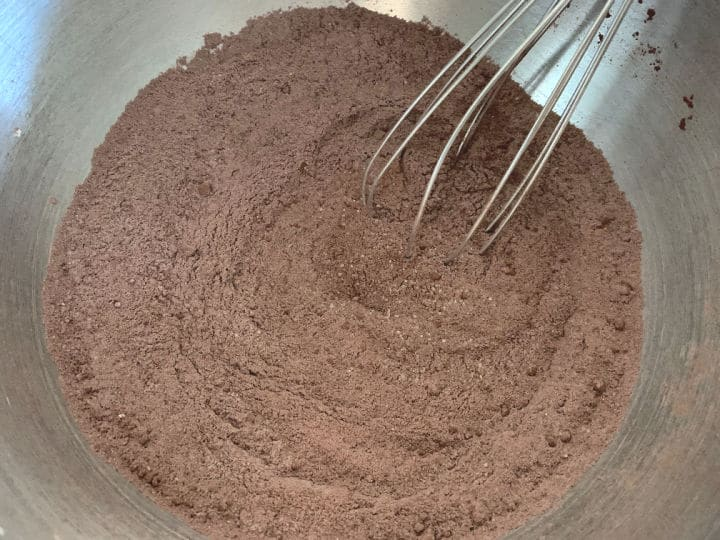 whisked chocolate cake mix in a large bowl