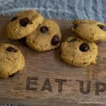 chocolate chip pumpkin cookies on a cutting board
