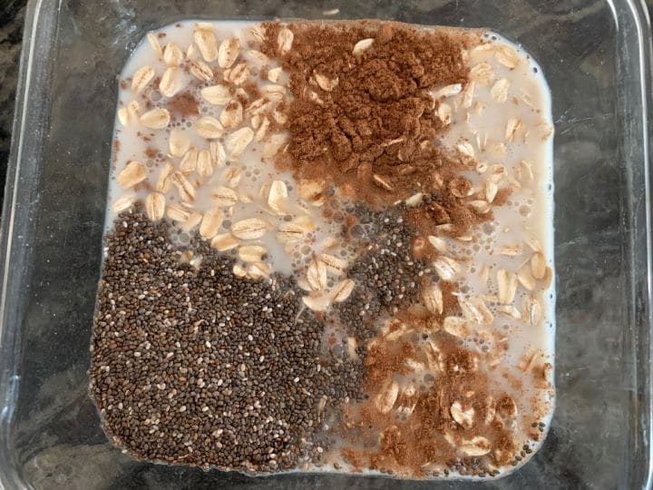 pumpkin spice overnight oats ingredients in a container