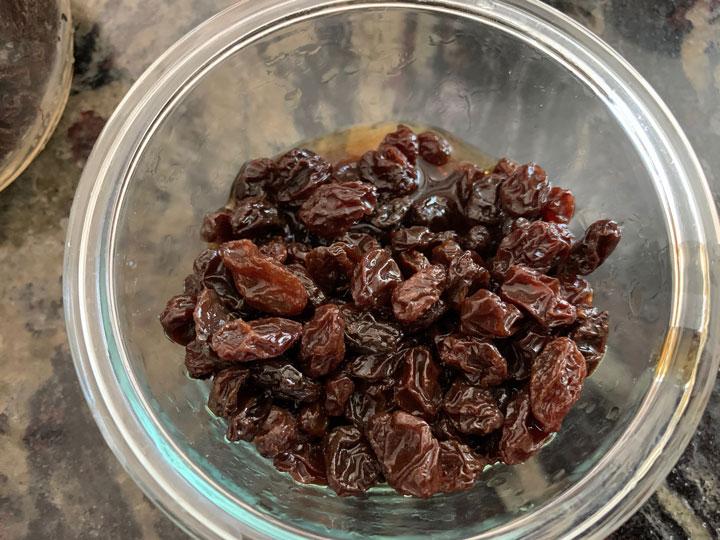 raisins soaking in dark rum