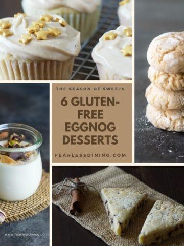 a collage of eggnog dessert images