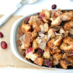 cranberry stuffing in a silver serving bowl