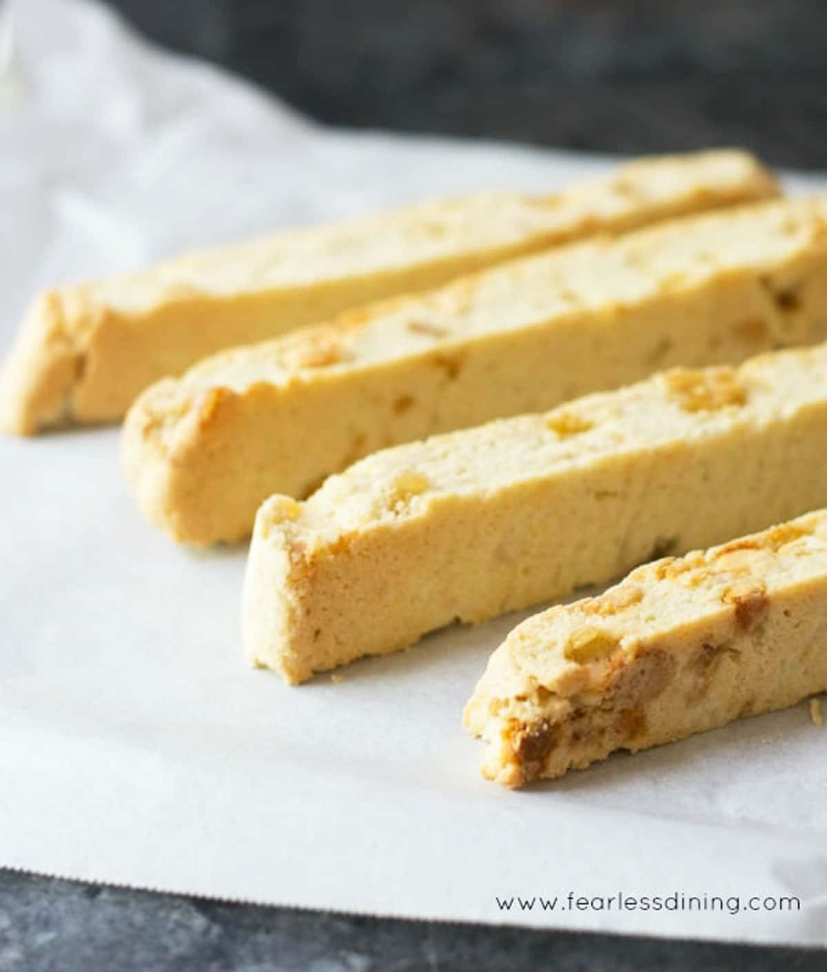 ginger biscotti on a baking sheet