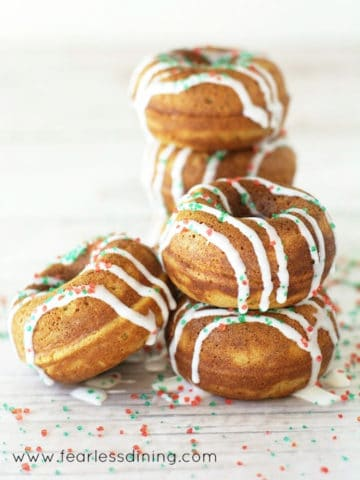 a stack of gingerbread donuts