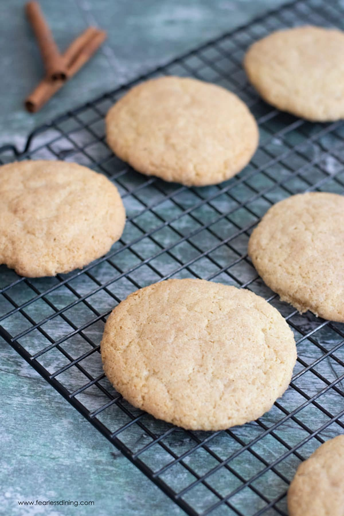 snickerdoodles on a cooling rack