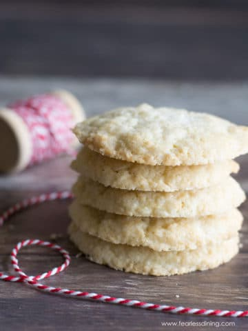 a stack of five sugar cookies