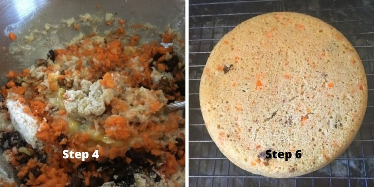 carrot cake steps 4 and 6 images