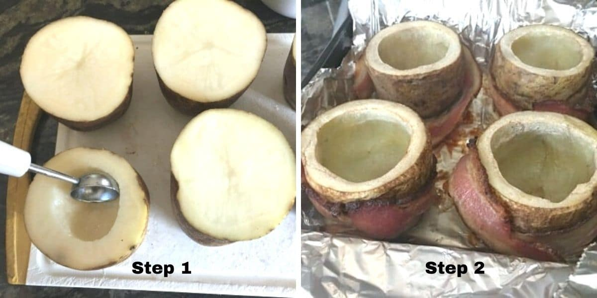 photos of steps 1 and 2 scooping potatoes