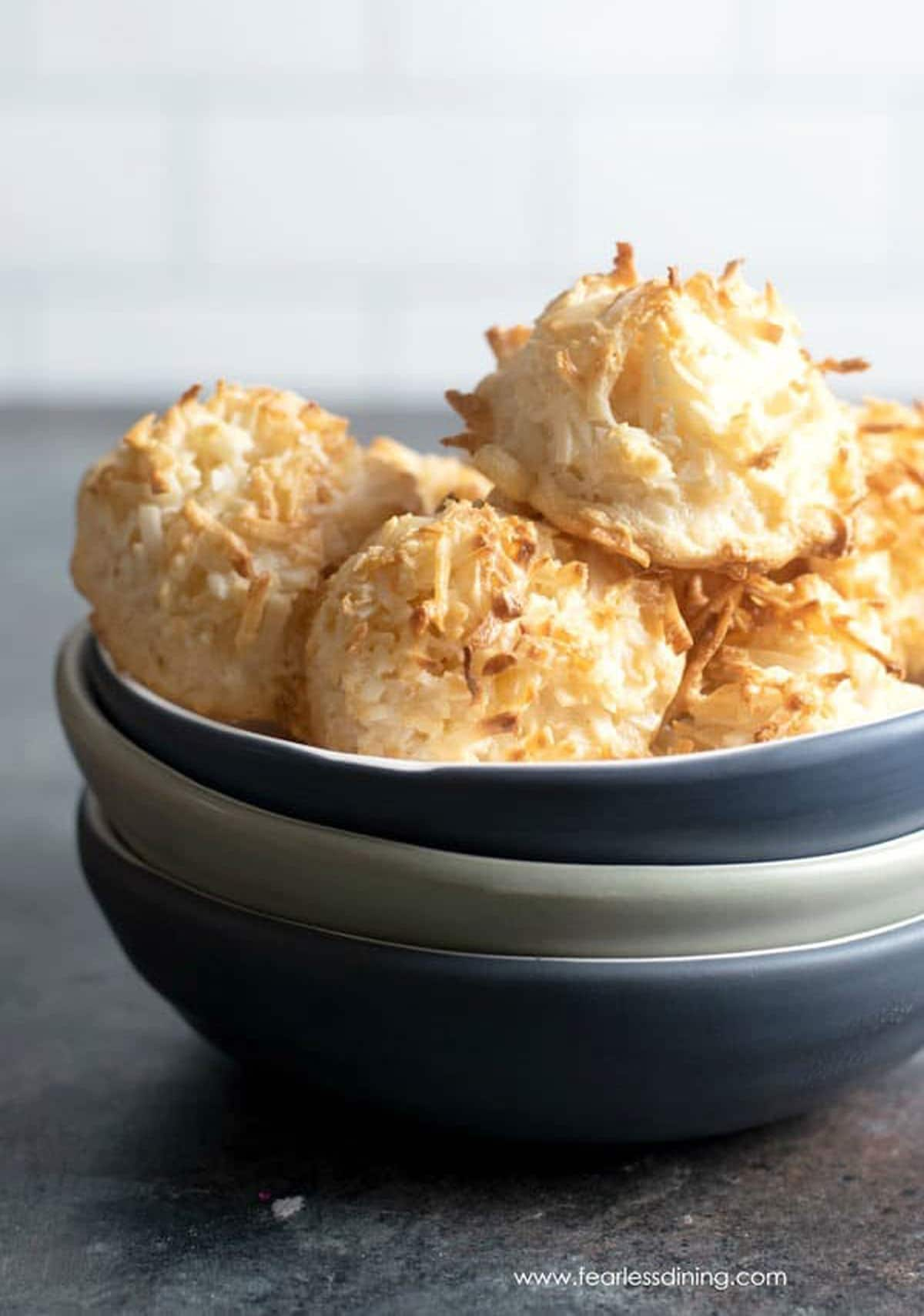 a bowl full of coconut macaroons