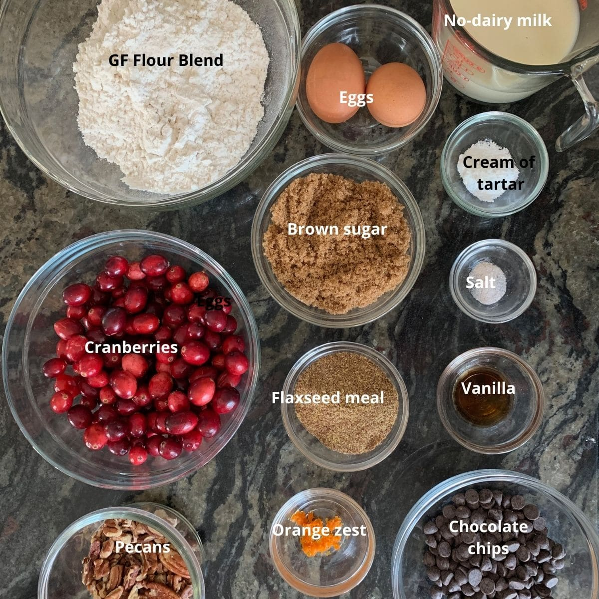 cranberry bread ingredients on the counter