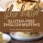 a pinterest collage of two english muffins photos