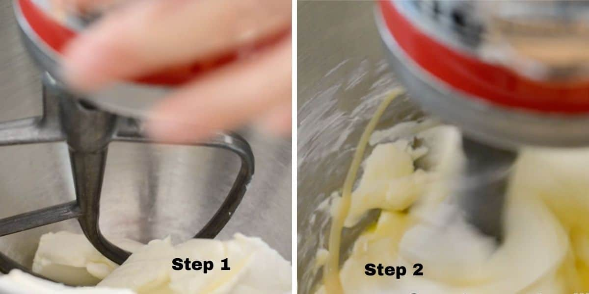 photos of steps 1 and 2 mixing the base cheesecake