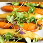 a pinterest collage of showing a platter of roasted maple carrots