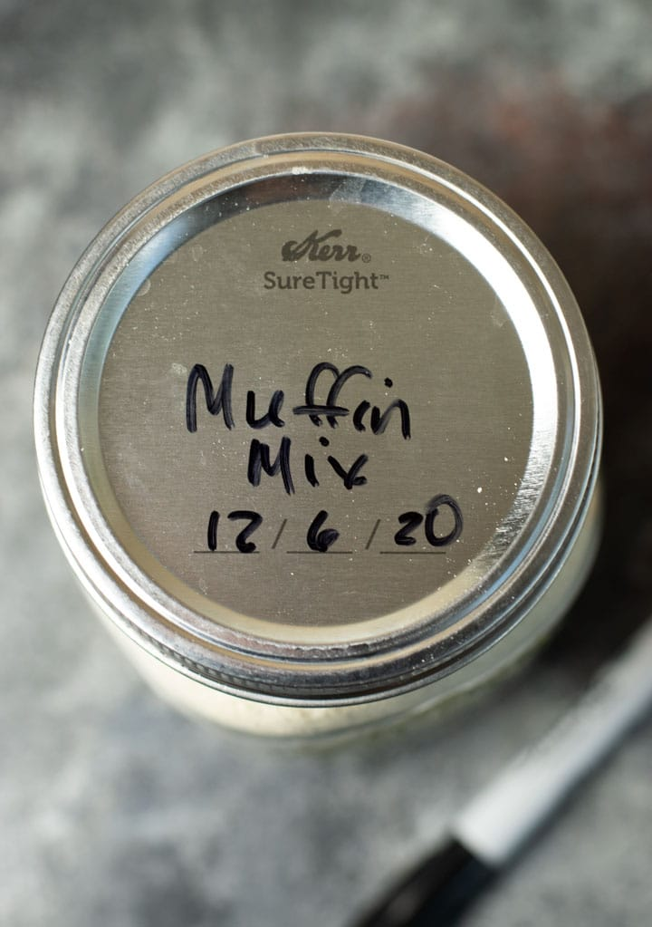 muffin mix labeled jar lid