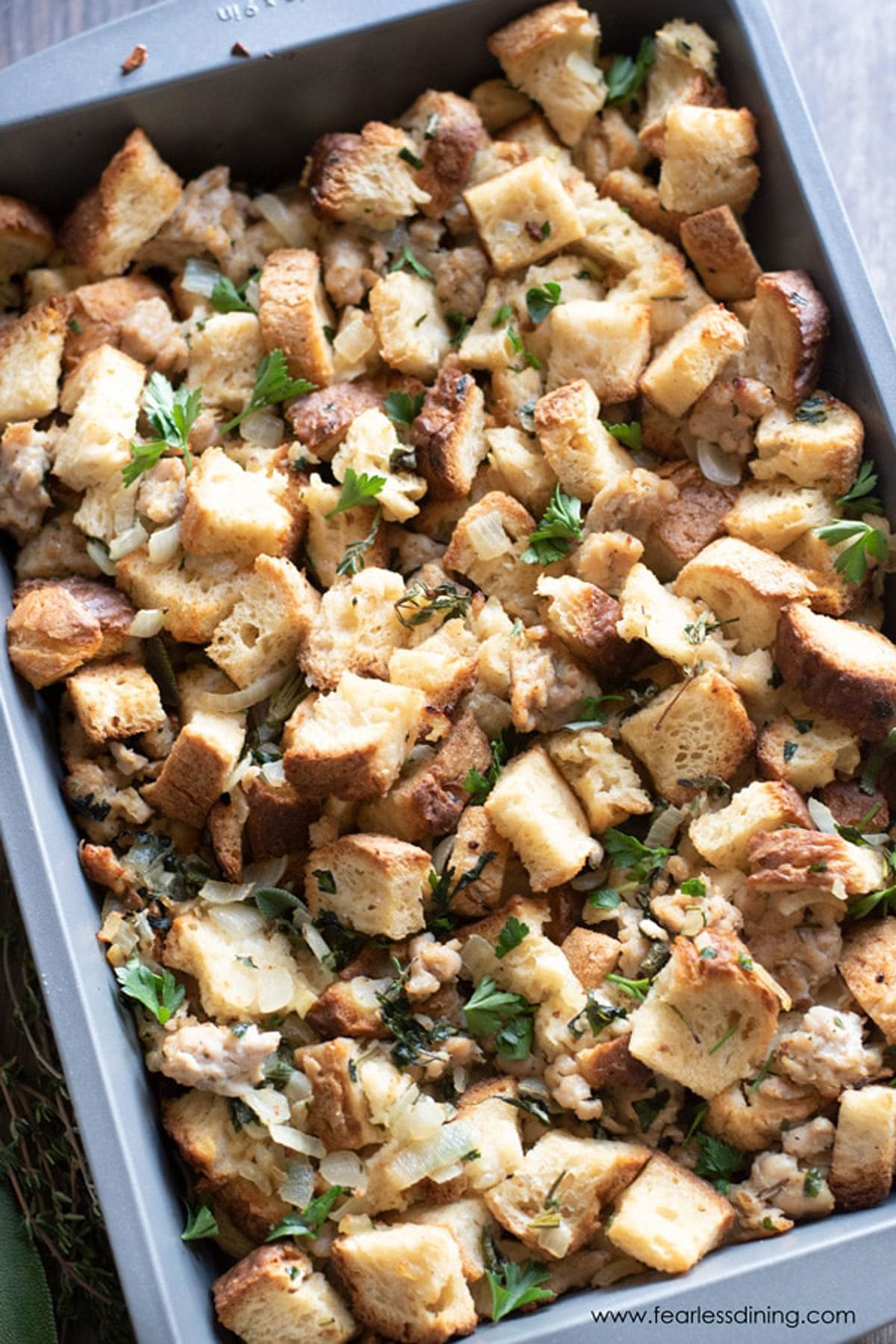 a closeup of the pan of stuffing