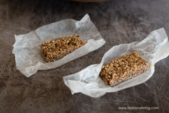 unwrapped pieces of sesame candy