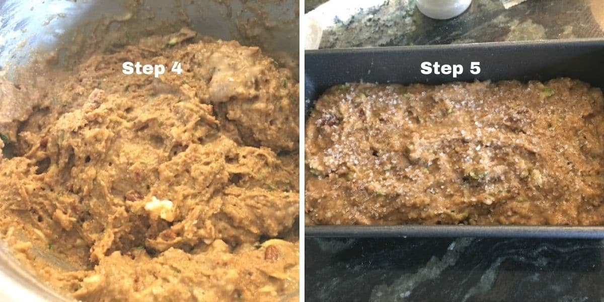 zucchini bread steps 4 and 5